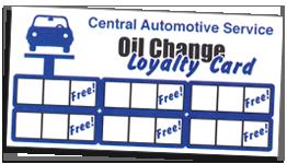 Oil Change Loyalty Card